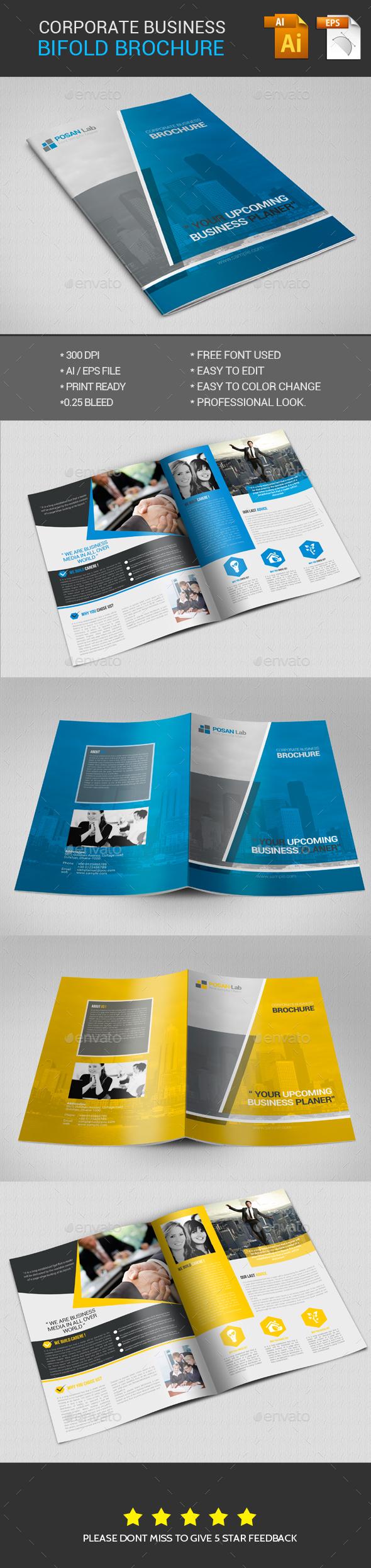 Corporate Business Bifold Brochure - Brochures Print Templates