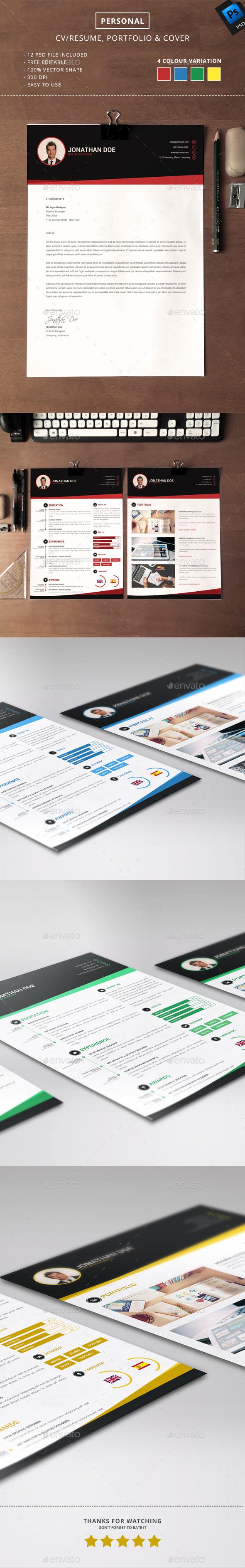 Personal CV/Resume, Portfolio & Cover - Resumes Stationery