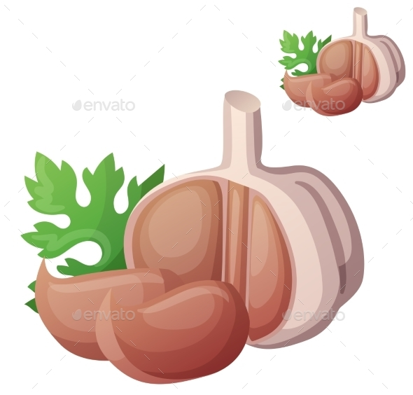 Garlic Isolated On White Background. Detailed - Food Objects