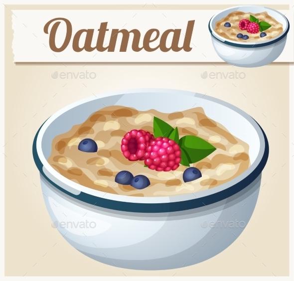 Oatmeal. Cartoon Vector Icon - Food Objects