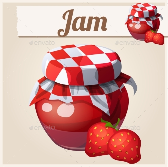 Strawberry Jam. Cartoon Vector Icon. - Food Objects