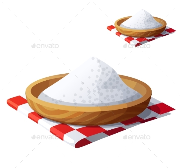Salt Isolated On White Background. Detailed Vector - Food Objects