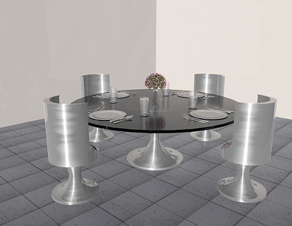 Modern Dining Set with Place Settings - 3DOcean Item for Sale