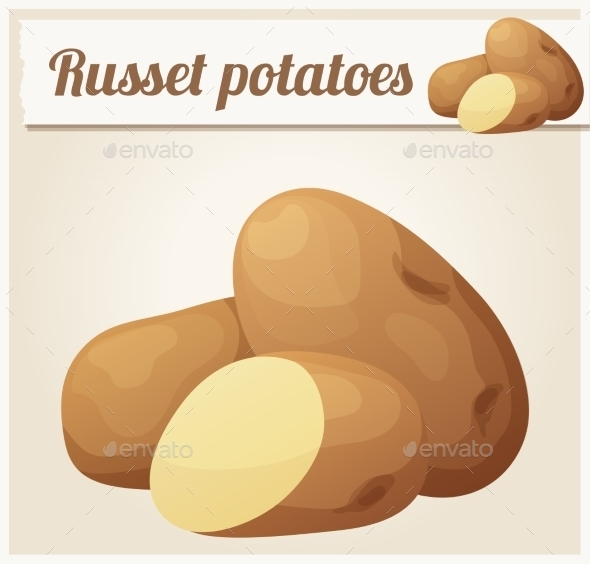Russet Potatoes. Detailed Vector Icon - Food Objects