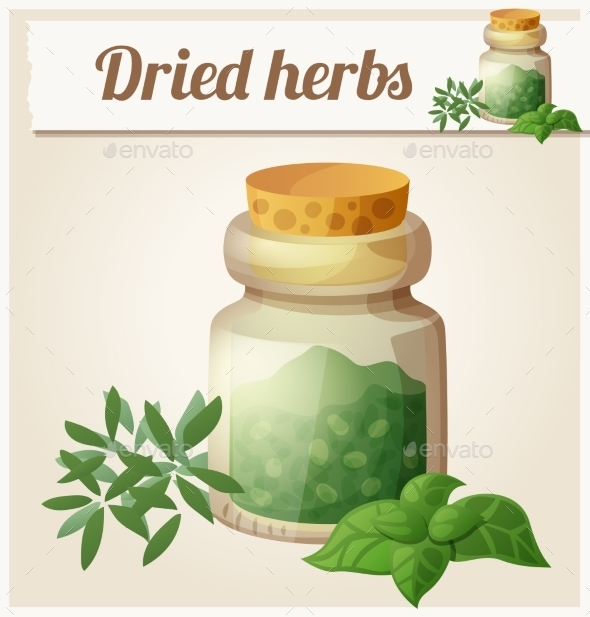 Dried Herbs. Detailed Vector Icon - Seasons Nature