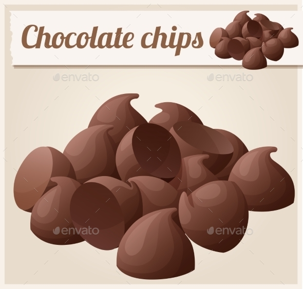 Semisweet Chocolate Chips. Detailed Vector Icon - Food Objects