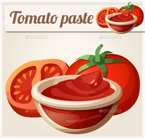 Tomato Paste. Detailed Vector Icon - Food Objects
