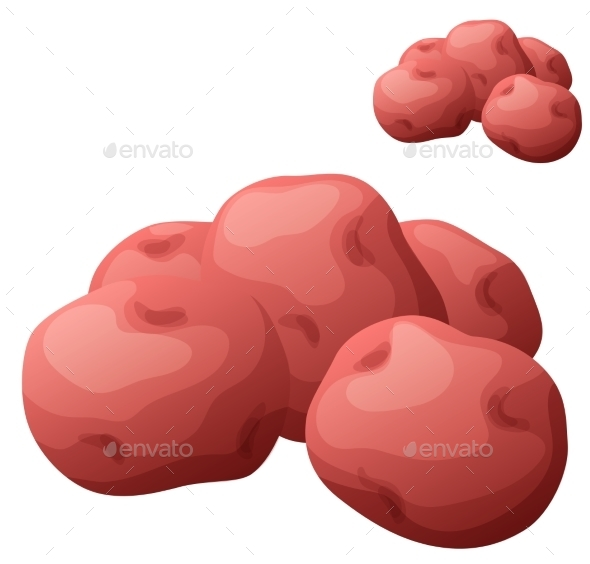 Small Red Potatoes. Detailed Vector Icon Isolated - Food Objects