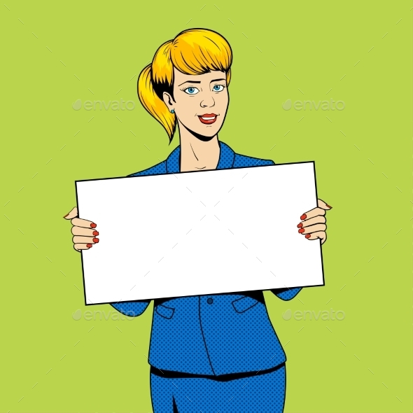 Young Woman Holding a Sign Pop Art Vector - Backgrounds Decorative