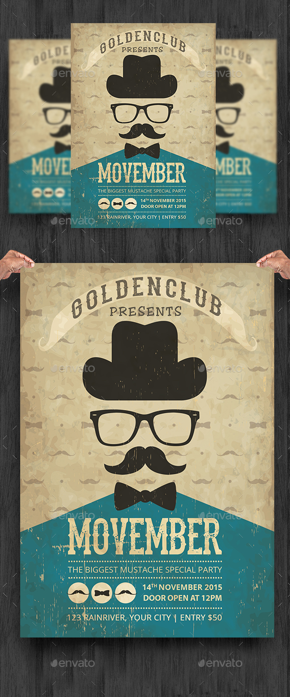 Vintage Movember Party Flyer Template - Clubs & Parties Events