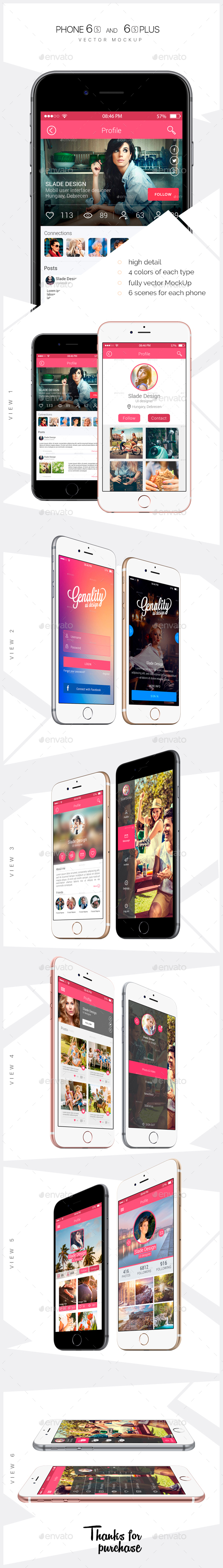 iPhone 6s and 6s Plus vector Mockups - Product Mock-Ups Graphics