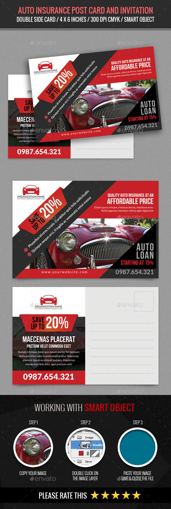 Auto Show and Sales Post Card Template - Cards & Invites Print Templates