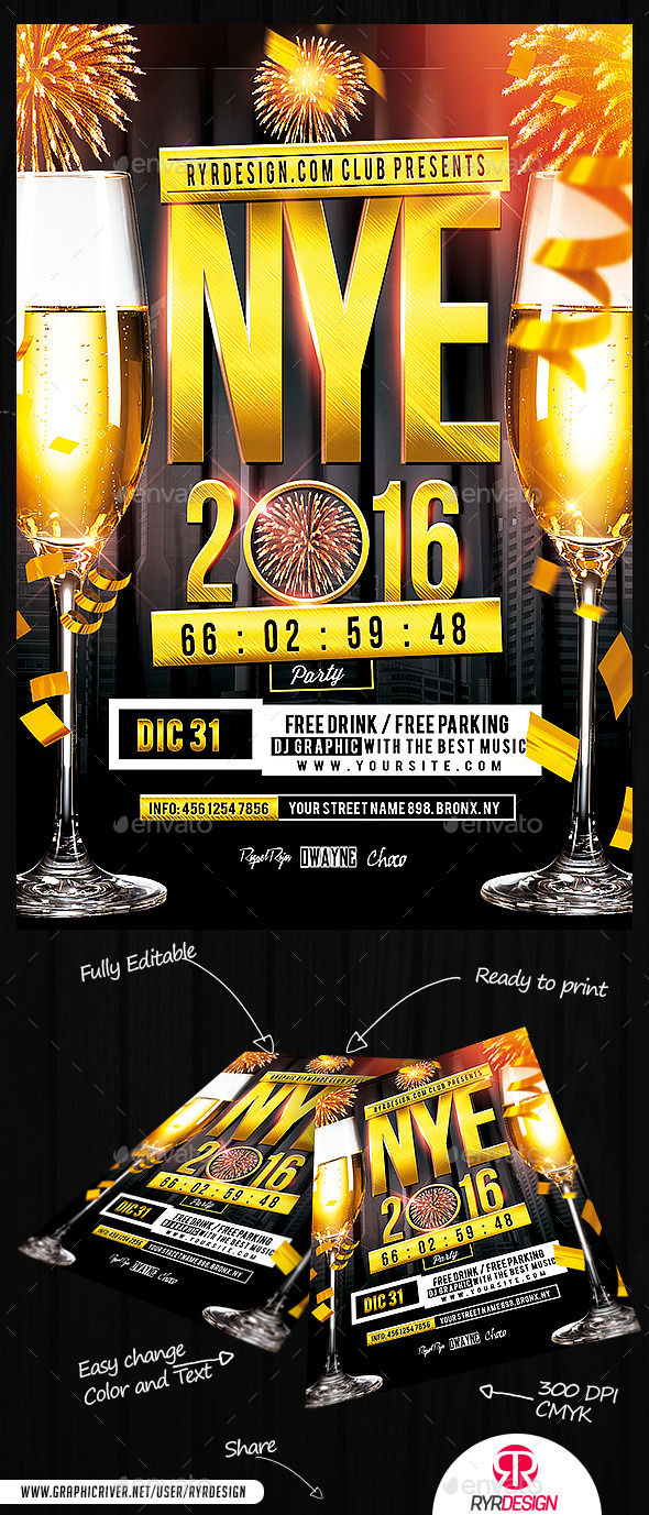 NYE 2016 Party Flyer PSD Template - Events Flyers