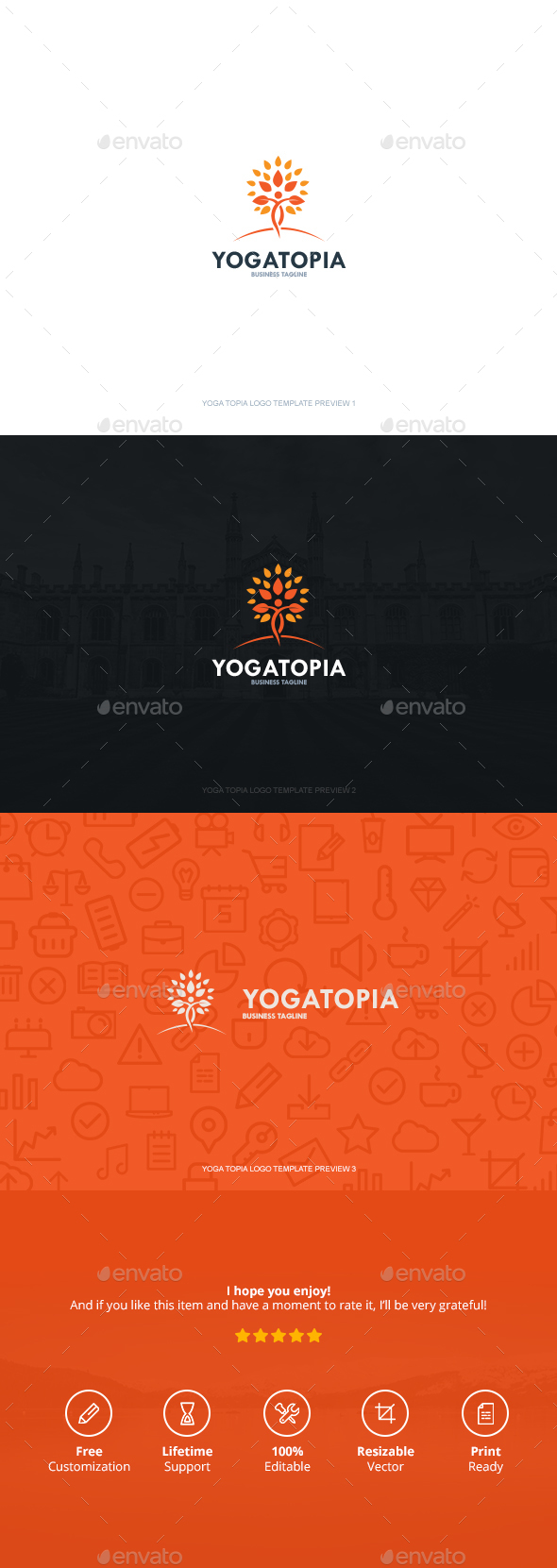 Yoga Topia Logo - Symbols Logo Templates