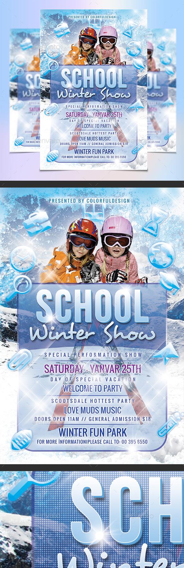 School / Winter Show Flyer Template - Clubs & Parties Events
