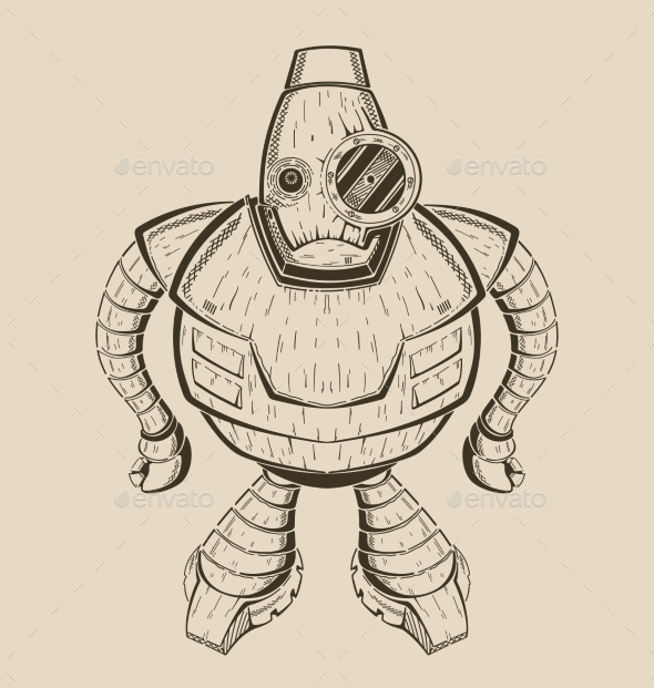 It Is An Image Of Cartoon  Funny Iron Robot.  - Monsters Characters