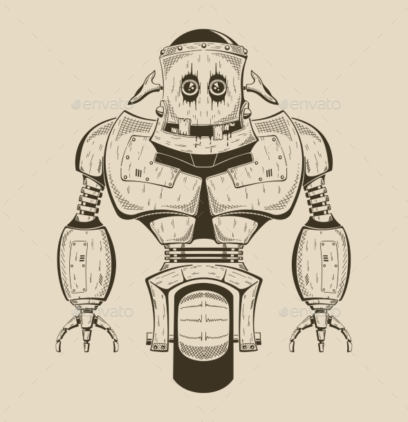 It Is An Image Of Cartoon Iron Robot.  - Monsters Characters