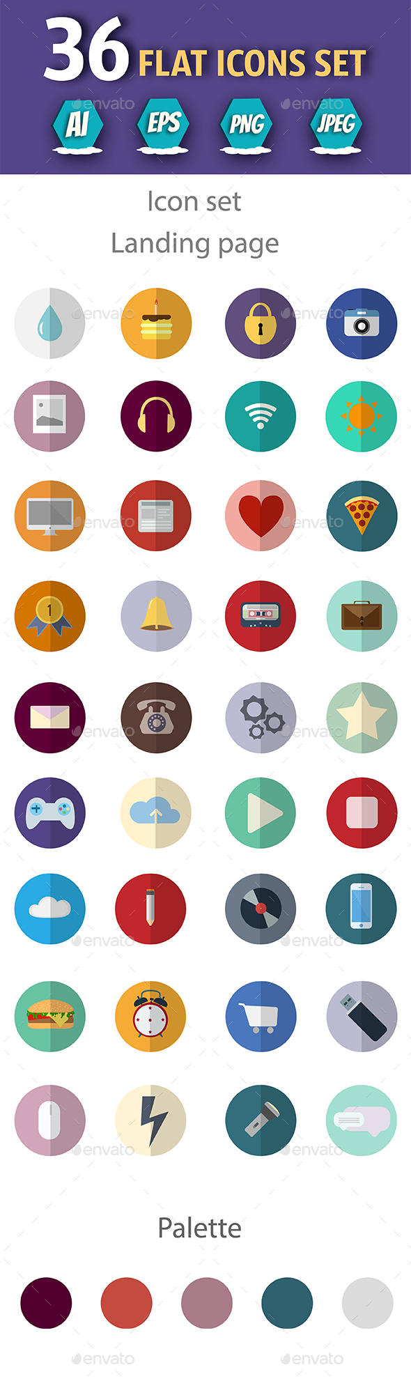 Set of Flat Design  Icons - Icons