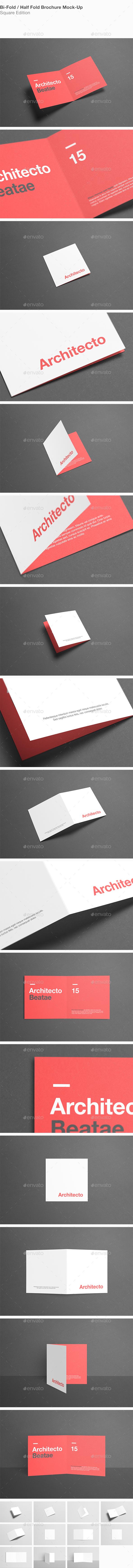 Square Bi-Fold / Half-Fold Brochure Mock-Up - Brochures Print