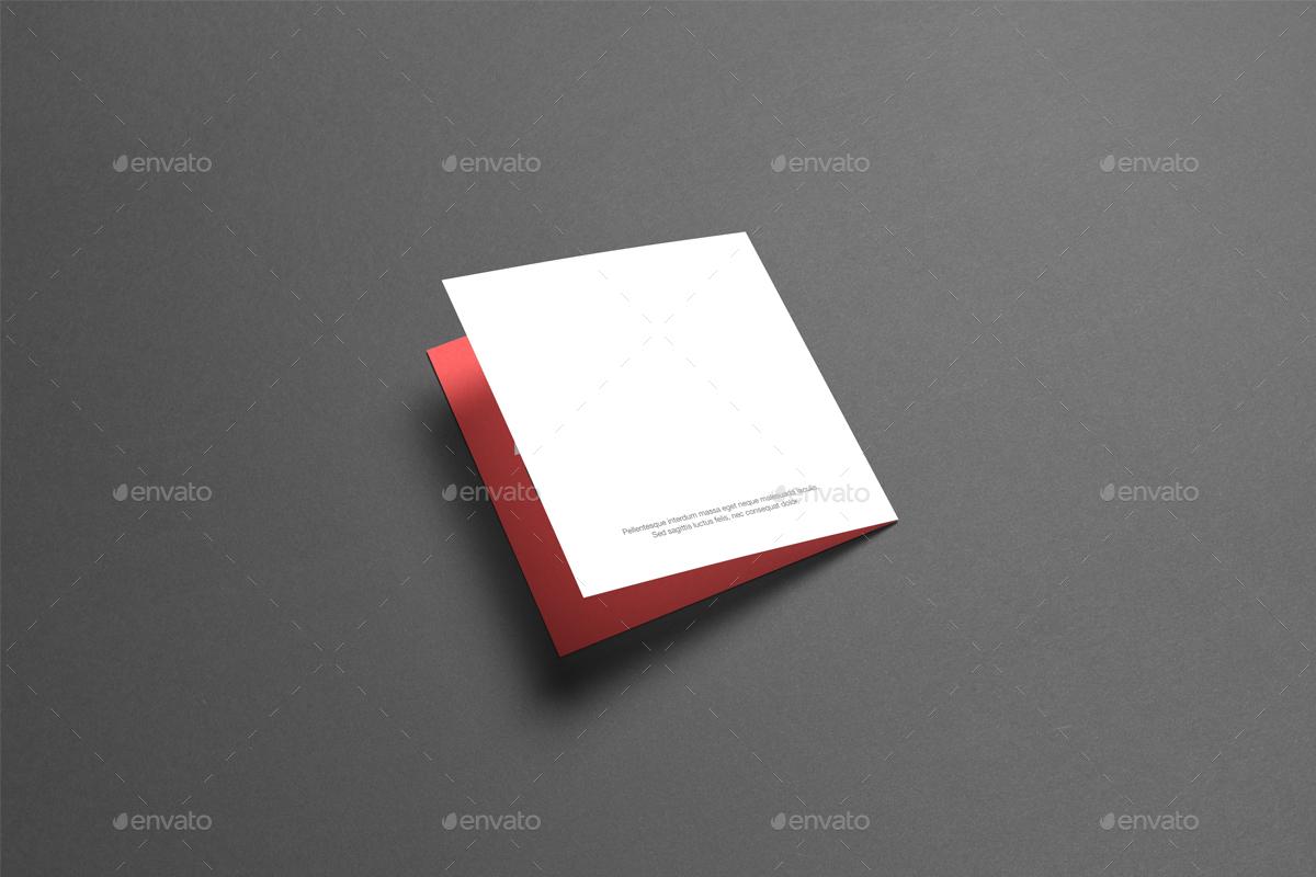 Square Bi-Fold / Half-Fold Brochure Mock-Up