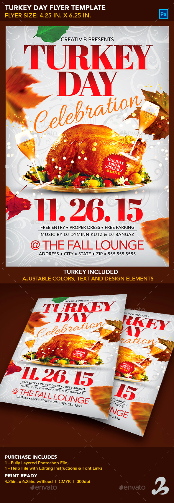 Turkey Day Flyer Template - Clubs & Parties Events