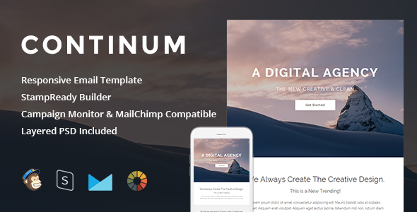 Continum - Responsive Email + StampReady Builder - Newsletters Email Templates