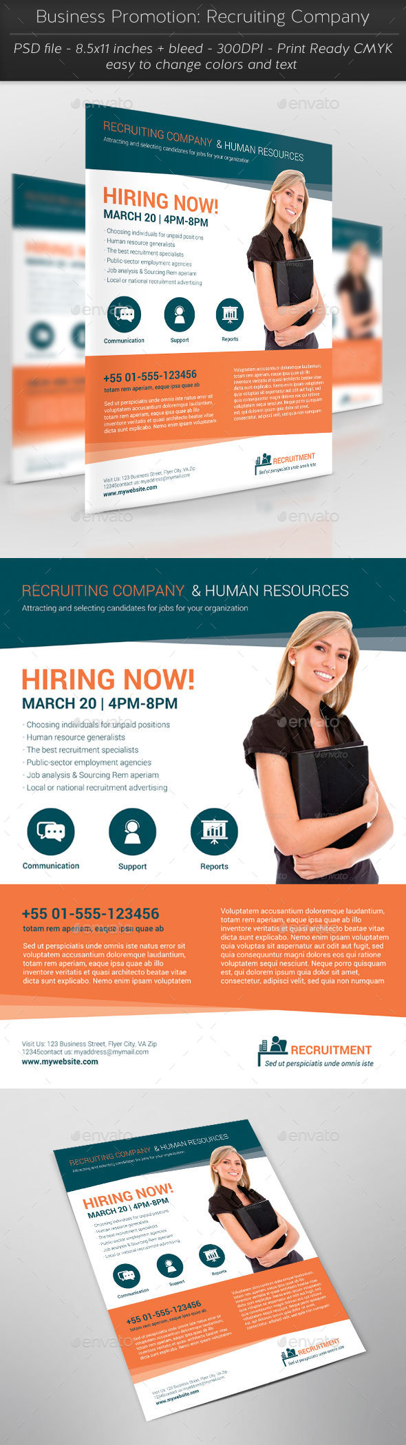Business Promotion: Recruiting Company - Flyers Print Templates