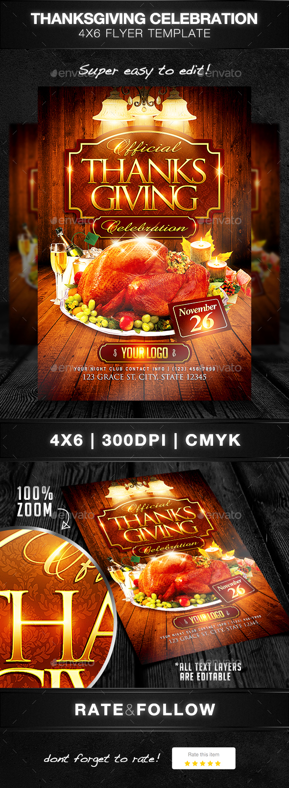 Thanksgiving Celebration Flyer Template - Holidays Events