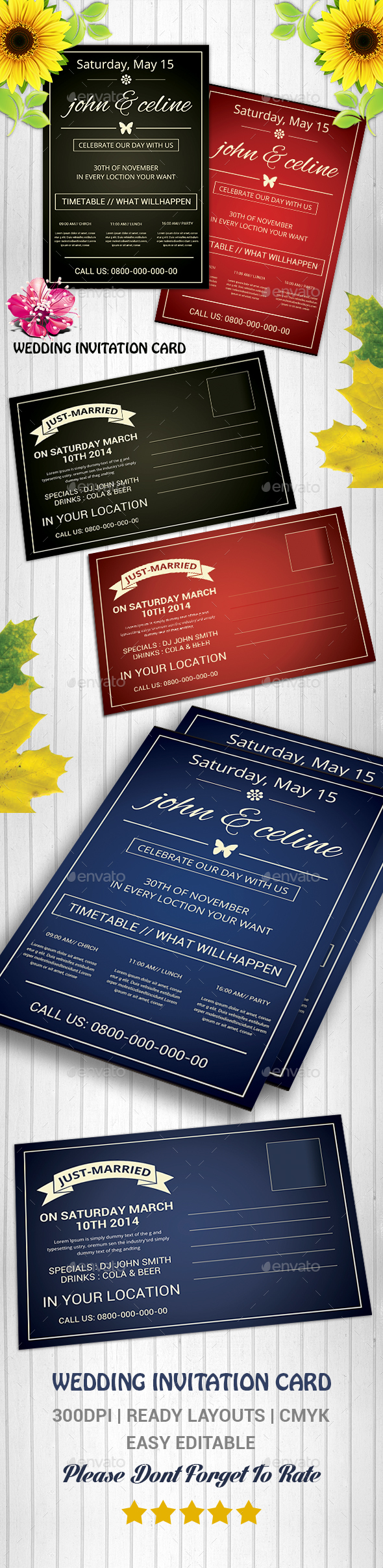 Wedding Invitation Card - Cards & Invites Print Templates