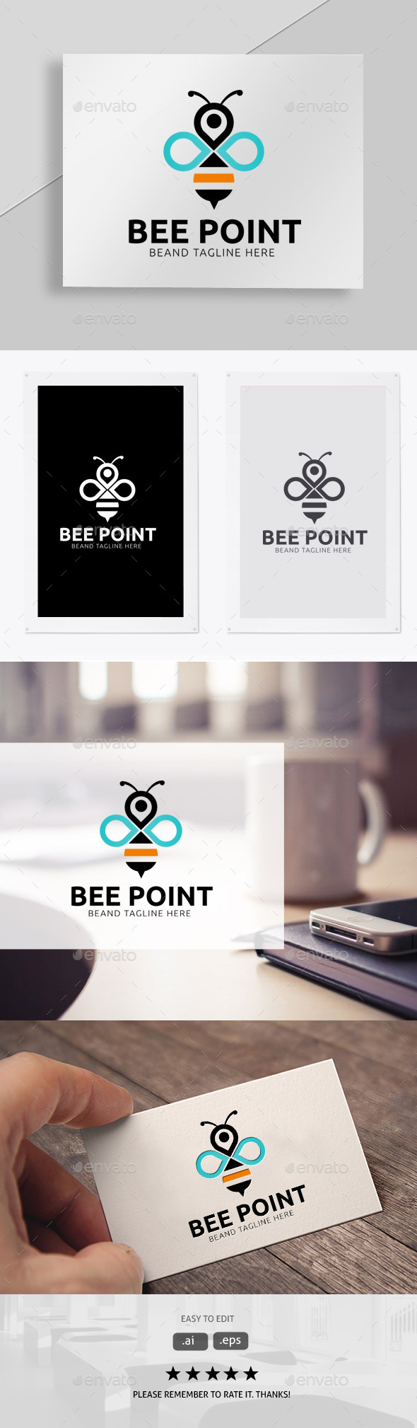 Bee Point - Animals Logo Templates