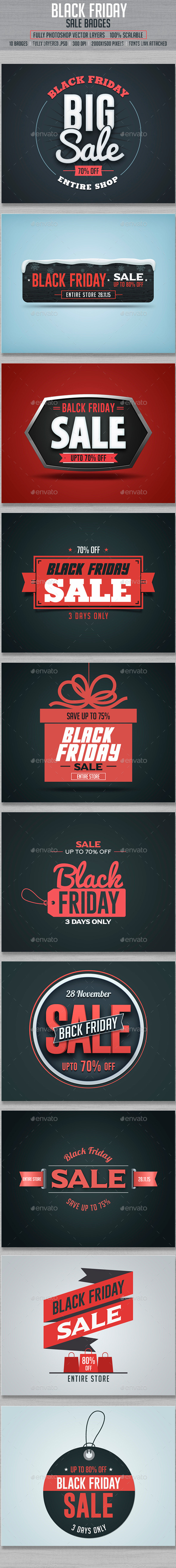 Black Friday Sale Badges - Badges & Stickers Web Elements