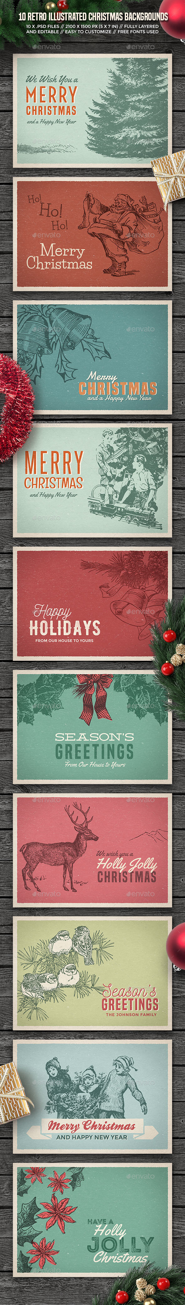10 Retro Illustrated Christmas Backgrounds/Cards - Backgrounds Graphics