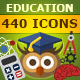 440 Education Flat Vector Icons Set - GraphicRiver Item for Sale