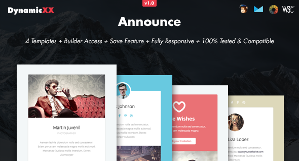 Announce – 4x Responsive Email + Online Builder