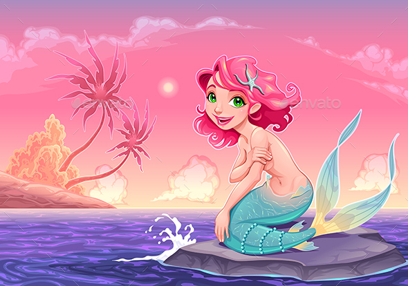 Young Mermaid Near the Shore - Characters Vectors