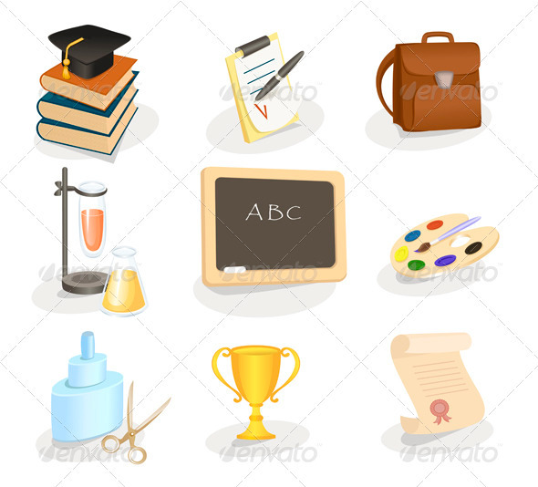 School and education icon set - Web Elements Vectors