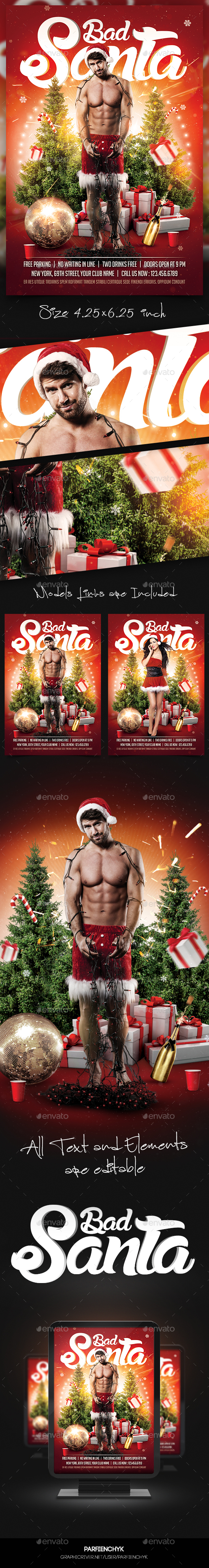 Bad Santa Flyer Template - Clubs & Parties Events