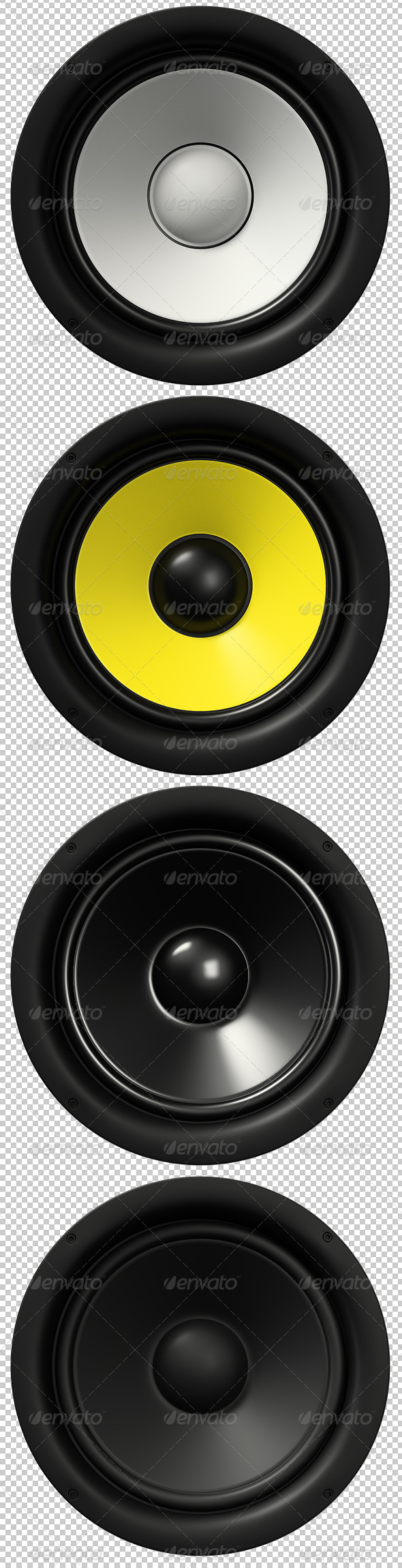 4 Loudspeakers Renders - Objects 3D Renders