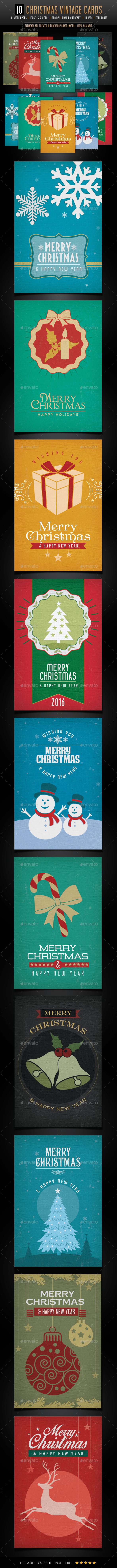 10 Christmas Vintage Cards - Backgrounds - Backgrounds Graphics