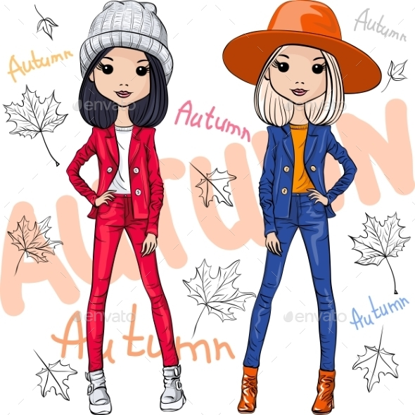 Vector Fashion Girls In Autumn Clothes - People Characters