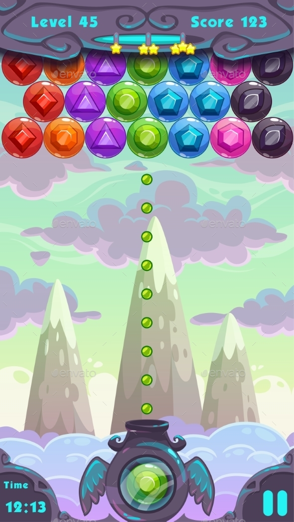Bubbles Shooter Game Screen - Web Elements Vectors