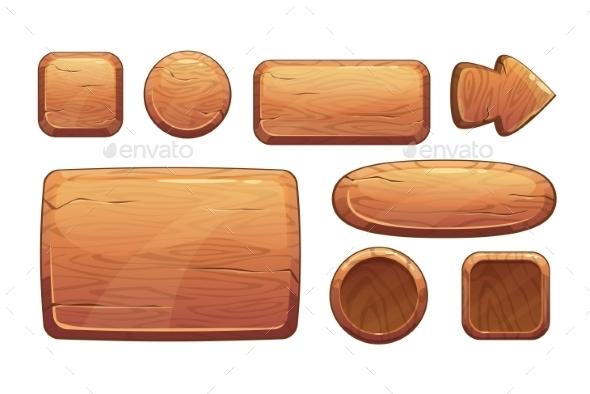 Cartoon Wooden Game Assets - Web Technology