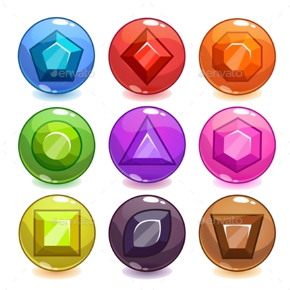 Cartoon Colorful Bubbles With Gemstones Inside - Sports/Activity Conceptual