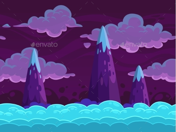 Seamless Cartoon Horizontal Cloudscape - Landscapes Nature