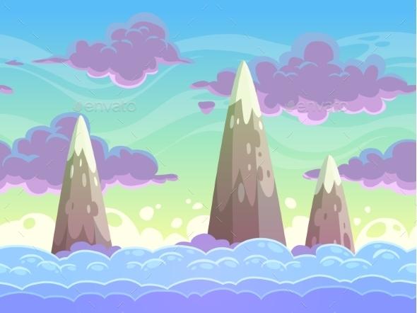 Seamless Cartoon Horizontal Cloudscape - Landscapes Nature