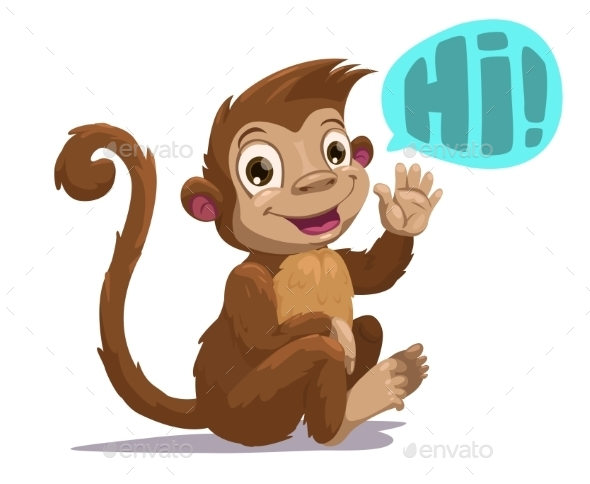 Cute Cartoon Sitting Monkey - Animals Characters