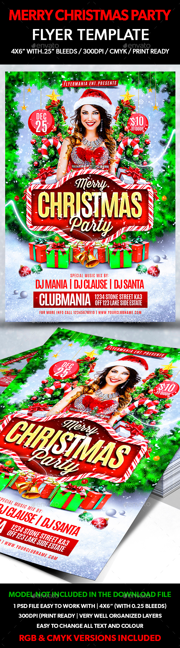 Merry Christmas Party Flyer Template - Flyers Print Templates