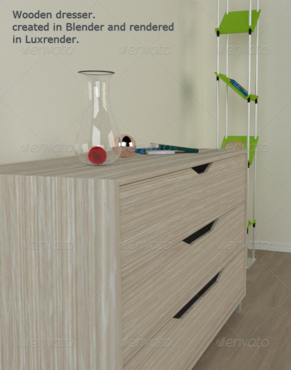 Wooden Dresser - 3DOcean Item for Sale