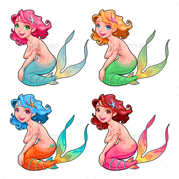 Funny Young Mermaids - Characters Vectors