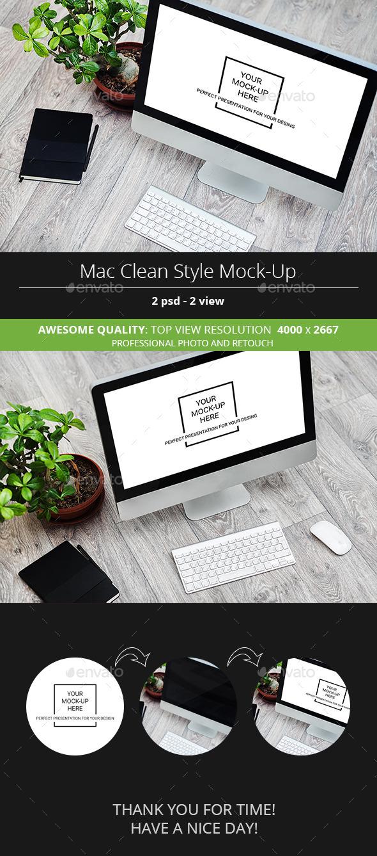 Mac Clean Style Mock-Up - Monitors Displays
